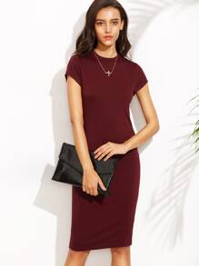 Burgundy Crew Neck Short Sleeve Sheath Dress