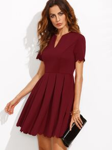 Burgundy Split Neck Scalloped Trim Fit And Flare Dress