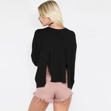 Black Double Slit Back Dolman Sleeve Sweater