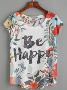 White Floral Letters Print T-shirt