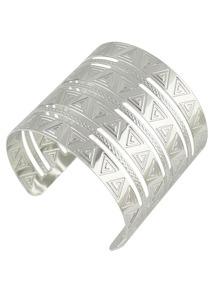 Silver Indian Design  Wide Cuff Bracelet