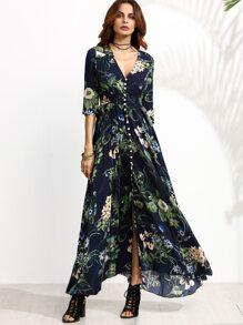 Navy Floral Print Half Sleeve Buttons Maxi Dress