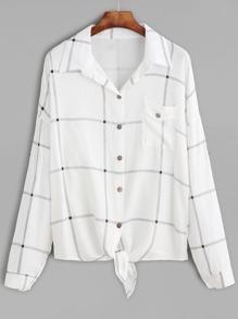 White Windowpane Plaid Drop Shoulder Knotted Hem Shirt