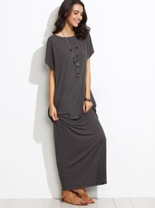 Heather Grey Batwing Cocoon Maxi Dress