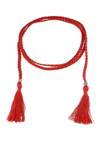 Red Long Boho Casual Tassel Belt