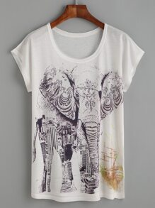 White Elephant And Building Print T-shirt