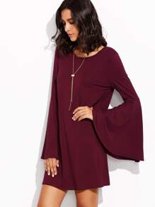 Burgundy Bell Sleeve Shift Dress