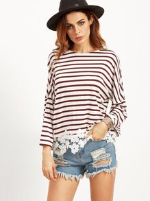 Burgundy Striped Drop Shoulder Tee With Flower Lace Detail