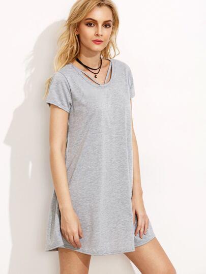 Серое платье футболка