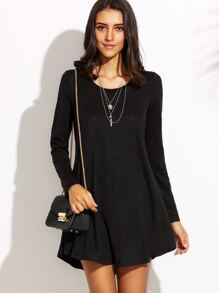Black Round Neck Long Sleeve Shift Dress