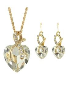 White New Colorful Rhinestone Heart Shape Pendant Necklace Earrings Set