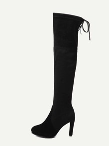 Black Faux Suede Tie Back Knee Boots