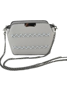 Gray Pu Leather Vintage Metal Chain Shoulder Bag For Women