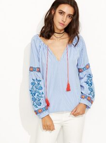 Blue Striped Convertible Embroidered Long Sleeve Blouse
