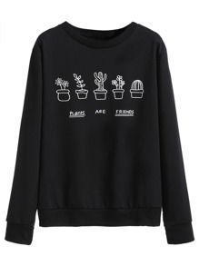 Black Plants Print Sweatshirt
