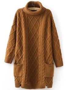 Khaki Turtleneck Pocket Side Slit Cable Knit Sweater Dress