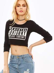 Black Letter Print Crop T-shirt