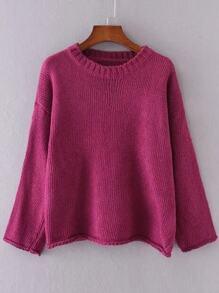 Red Drop Shoulder Roll Hem Sweater
