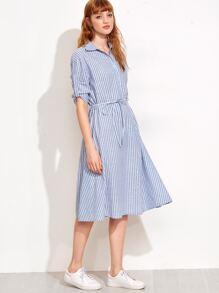 Blue Vertical Stripe Self Tie Shirt Dress