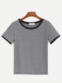 Contrast Striped Ringer T-shirt