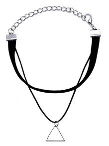 Black Double Layer Geometric Charm Bracelet