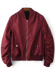 Burgundy Zipper Up Flight Jacket With Pockets