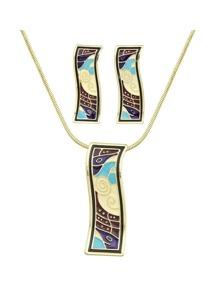 Winered Enamel Square Necklace Earrings Set