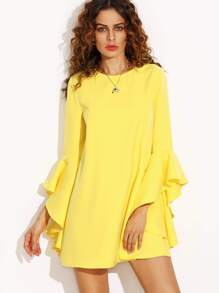 Yellow Crew Neck Ruffle Sleeve Shift Dress