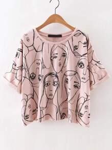 Pink Portrait Print Roll Sleeve T-Shirt