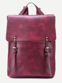 Maroon Double Buckle Strap Flap Backpack