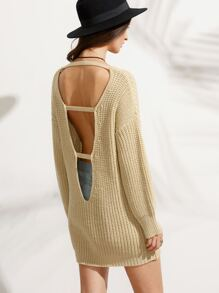 Apricot Cut Out Back Long Sleeve Sweater