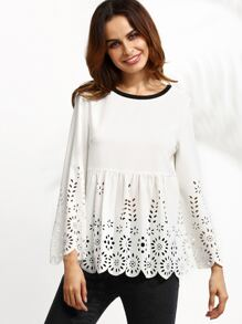 White Contrast Neck Laser Cutout Scallop Babydoll Top