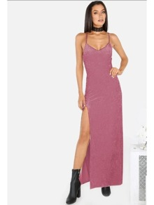 Purple High Slit Cami Dress