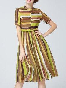 Multicolor Color Block Belted A-Line Dress