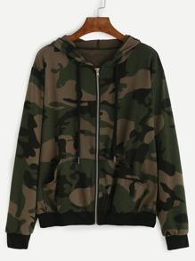 Camo Print Hoodie Zipped Jacket