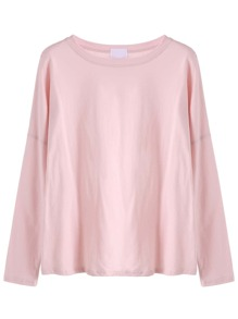 Pink Drop Shoulder Loose T-shirt