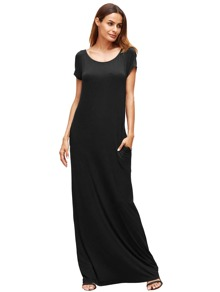Black Pocket Short Sleeve Maxi Dress