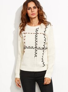White Faux Leather Whipstitched Eyelet Sweater