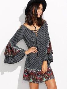 Multicolor Print Criss Cross Bell Sleeve Shift Dress