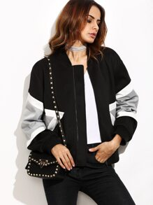 Black Contrast Panel Zip Up Bomber Jacket