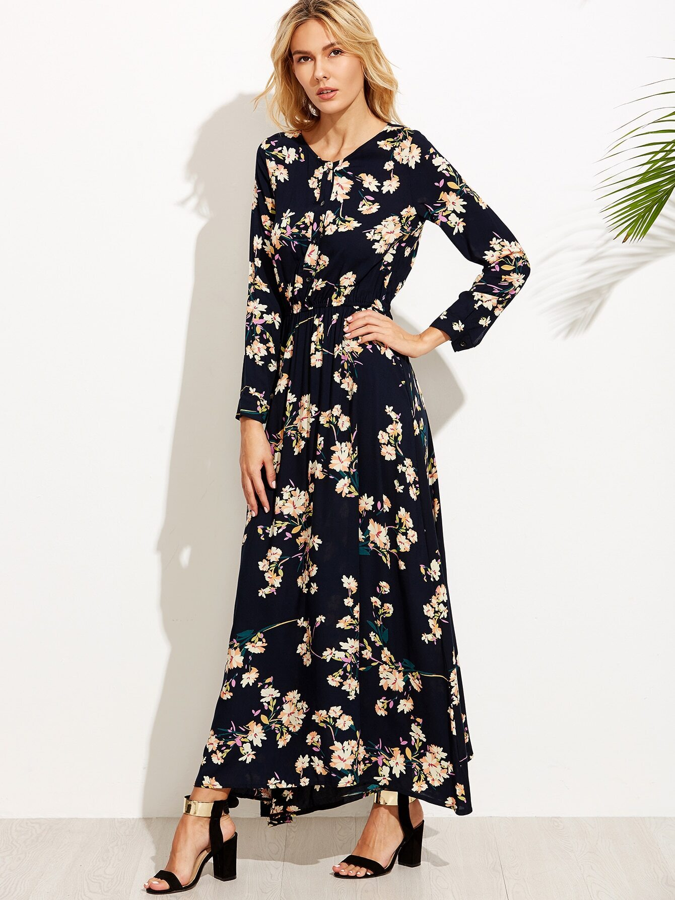 Navy Floral Print Button Front Maxi Dress EmmaCloth-Women Fast ...