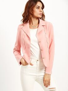 Pink Single Breasted Blazer With Scallop Detail