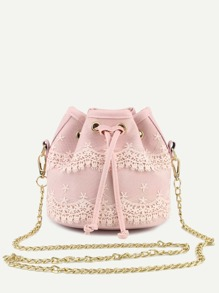 Pink Lace Detail Bucket Bag With Chain