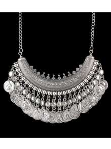 Antique Silver Tibetan Design Hanging Coins Statement Wedding Necklace For Women