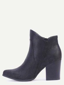 Black Round Toe Faux Leather Chunky Heel Boots