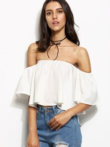 White Off The Shoulder Ruffle Crop Top