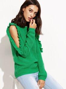 Green Open Shoulder Ruffle Pullover Sweater