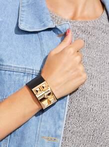 Black Studded Faux Leather Cuff Bracelet
