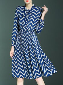 Blue Tie Neck Belted Chevron Pleated A-Line Dress