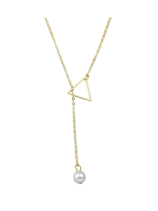 Gold Simple Imitation Pearl Adjustable Chain Necklace EmmaCloth ...